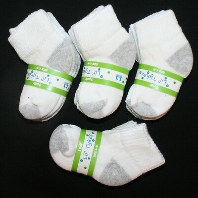 Lot 60 Pair Baby Toddler Boy THICK Ankle Socks Size 6-18 Months White and Gray