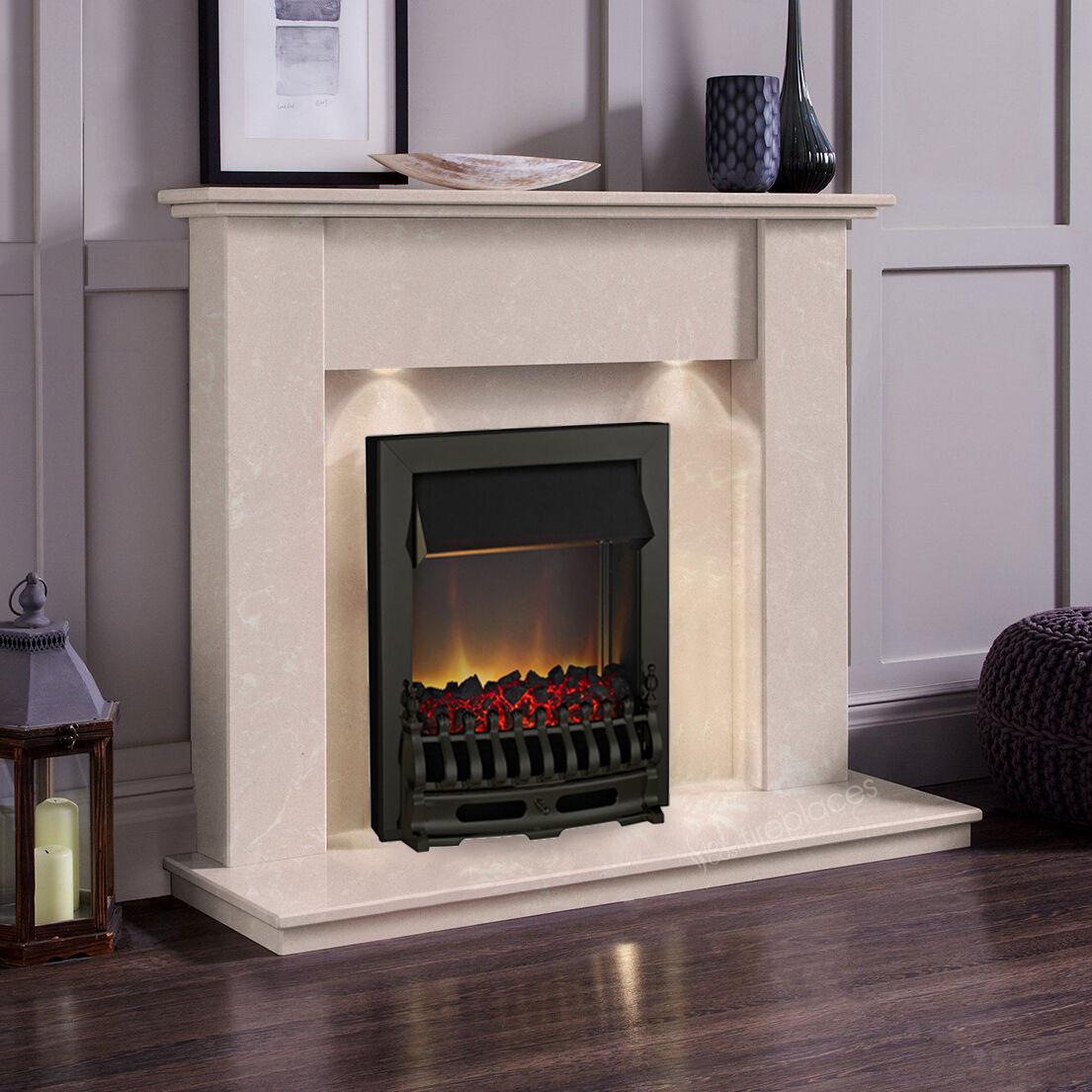 Marble Cream Stone Cheap Surround Black Electric Fire Fireplace Suite Spotlights Ebay