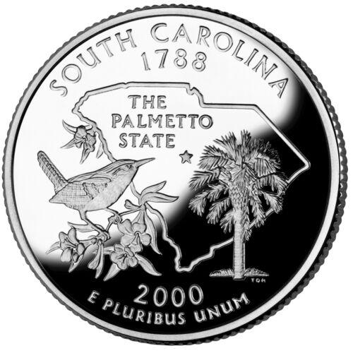 2000 S SILVER GEM PROOF SOUTH CAROLINA STATE QUARTER 90% SILVER