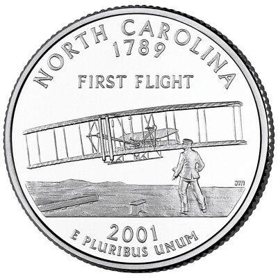 Carolina State Quarter Coin (2001 P North Carolina State Quarter, Circulated Coin, Finish Your Book  #0091 )