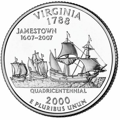 2000 Virginia State Quarter (2000 P Virginia State Quarter, Circulated Coin, Finish Your Coin Book.)