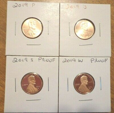 2019 P D S W Lincoln Cent Penny Proof 4 Coin Set Lot PDS  IN STOCK