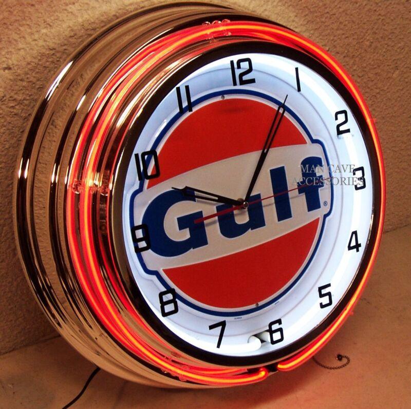 "19"" GULF Gasoline Motor Oil Gas Station Sign Double Neon Clock No Nox Gulftane"