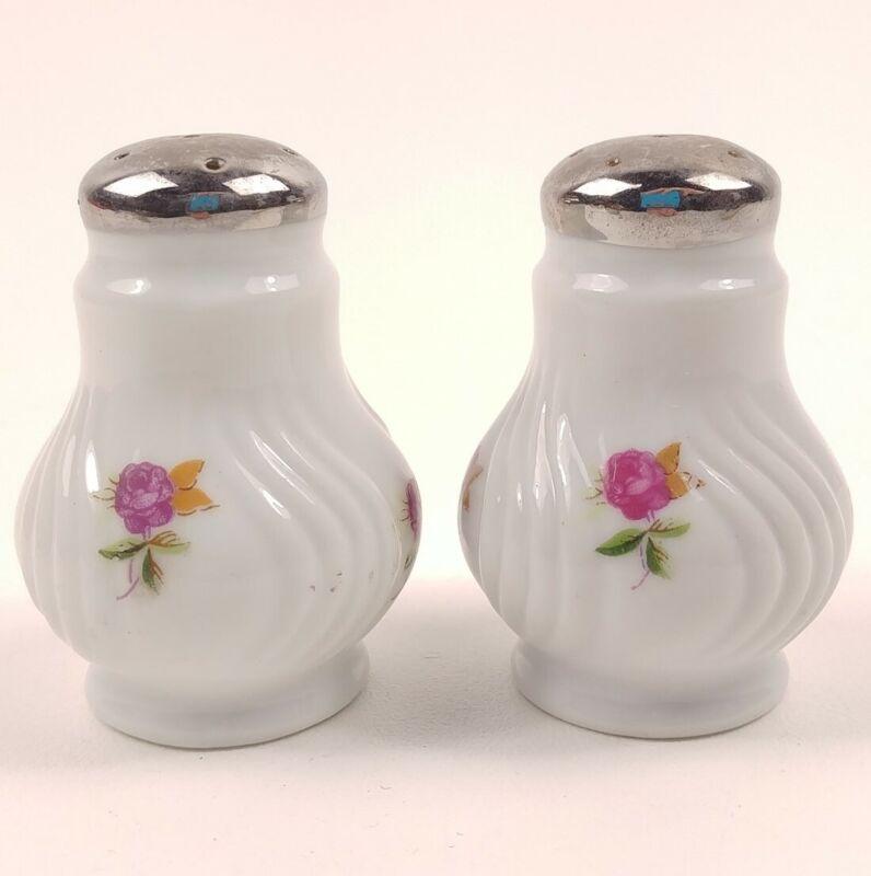 Ceramic Pink Rose Swirl Urn Shape Floral Vintage Salt & Pepper Shakers Japan