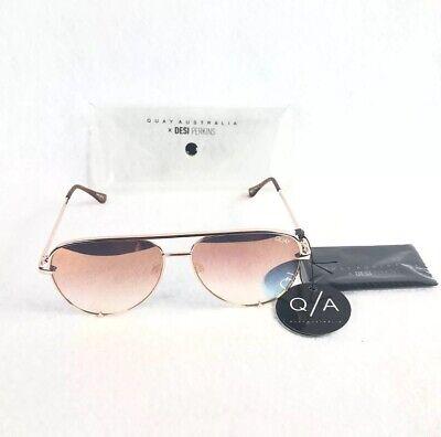Fade Frame Gold Lens (Quay Australia High Key Mini Womens Sunglasses Rose Gold Frame Copper Fade)