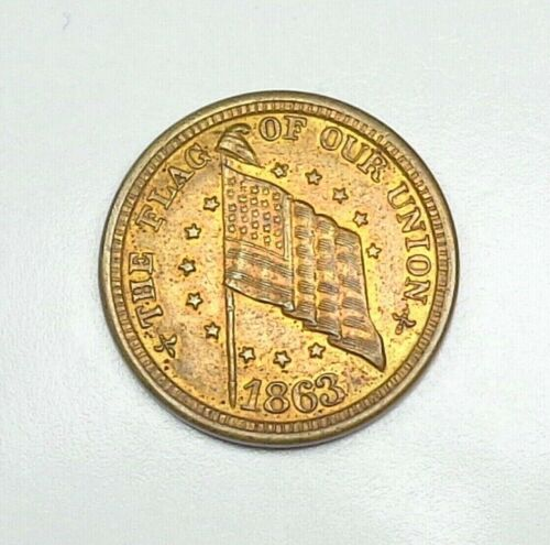 1863 USA Civil War Dix Token - Flag Of Our Union/Shoot Him On The Spot.