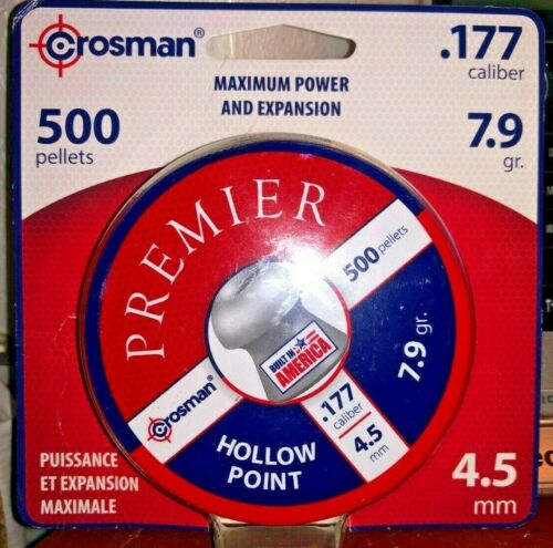 Crosman, 500 Pellets, .177 Caliber, Hollow Point, Maximum Power & Expansion 7.9g