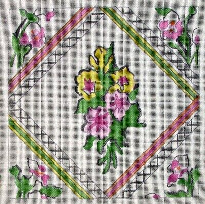 ORCHID FLOWER PILLOW Hand-Painted Needlepoint Canvas! BGH Barbara Galvin -