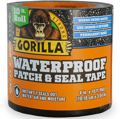 Gorilla Waterproof Tape Patch And Seal Permanent Bond 4 X 10 Black 1 Pack