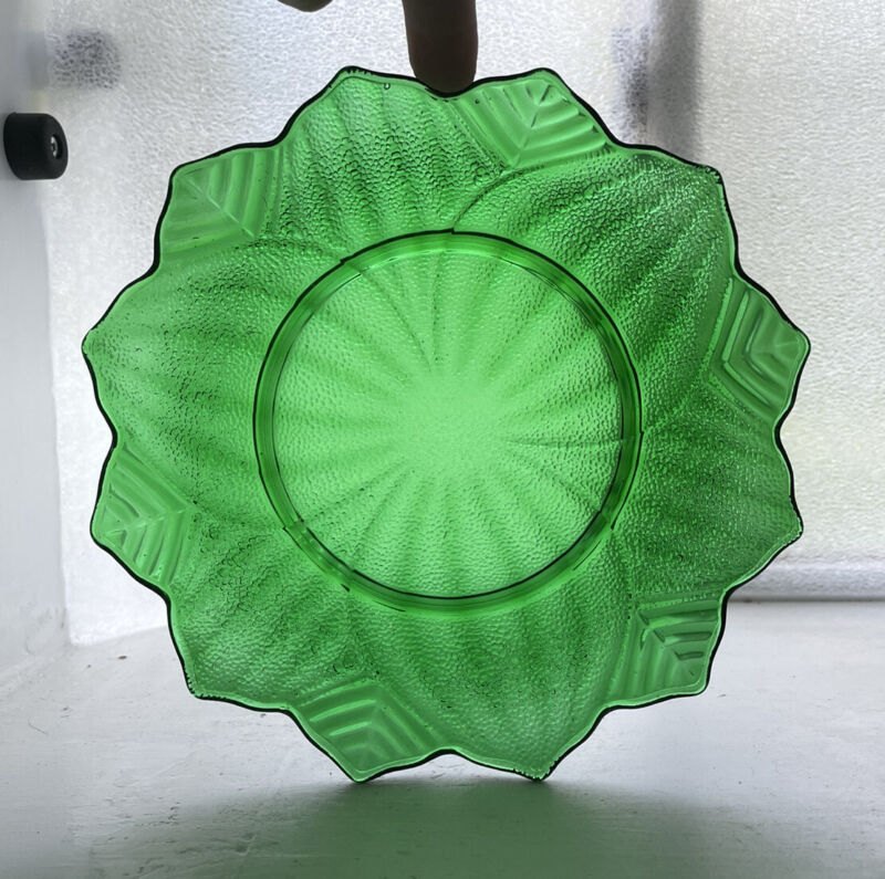 Vintage Forest Green Glass Anchor Hocking Lotus Blossom Plate