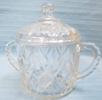 Covered Sugar Bowl Dish Pressed Crystal Clear Glass Diamond Pattern Design (1 Sugar Dish Bowl)