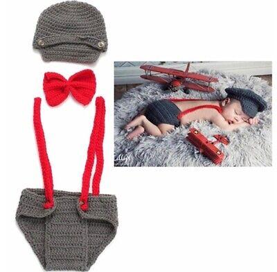 Baby Fotografie Kostüm Gehäkelt Gentleman Flieger