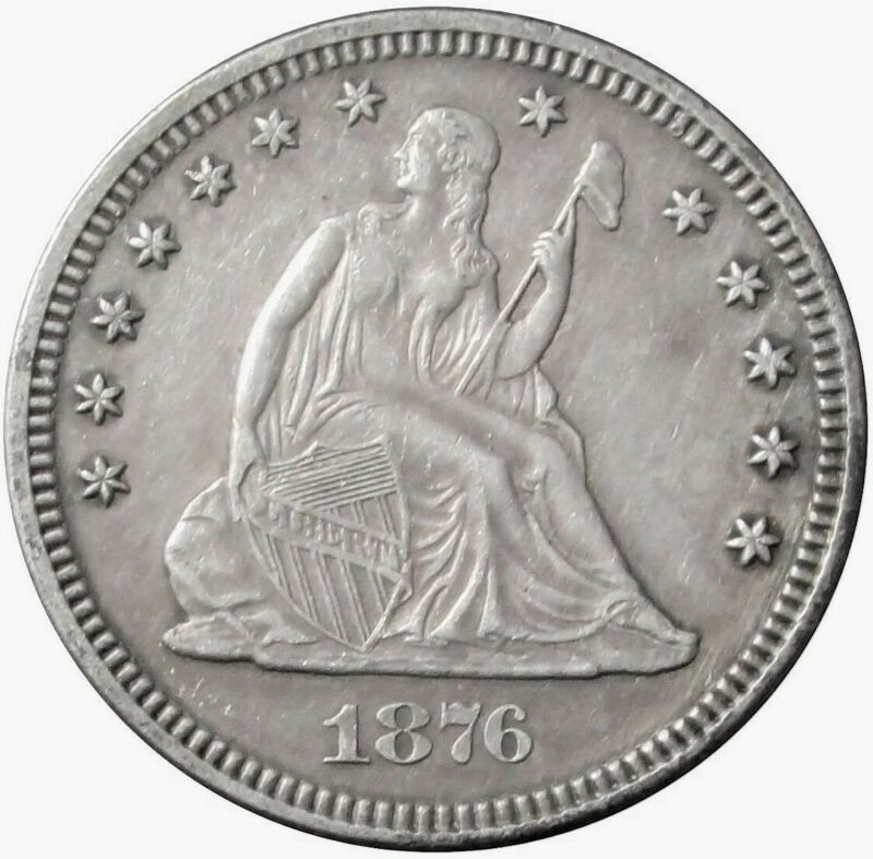 1876 SILVER US SEATED LIBERTY QUARTER DOLLAR TYPE COIN AU