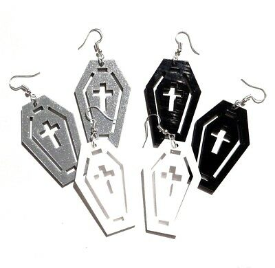 LASER CUT COFFIN EARRINGS casket death Halloween cross gothic pastel goth emo F6