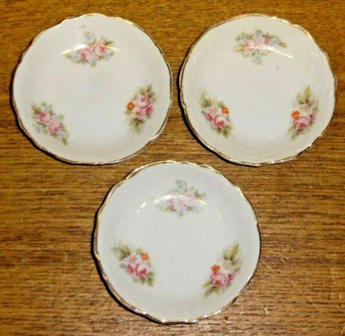 """3 Antique Merkelsgrun Austria Porcelain Butter Pats - Pink Roses - 3 1/4"""""""