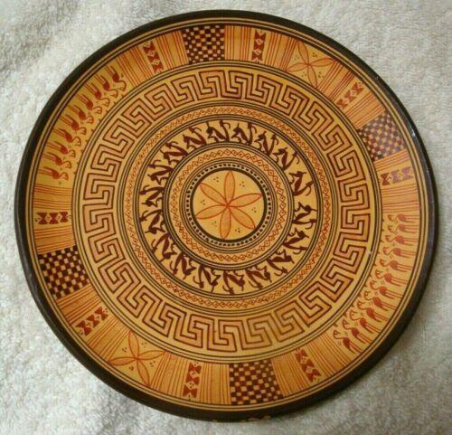 "Greek Geometrical Decorative Plate 6-3/4"" handmade in Greece Artist Signed"