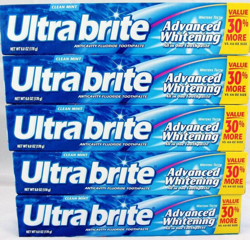 5 ULTRA BRITE TOOTHPASTE ADVANCED WHITENING 6 OZ clean mint