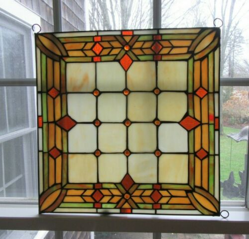 "Handmade Stained Glass  15"" x 15 "" Panel  Home Decor Window Art"