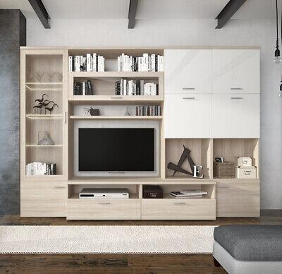 Parete attrezzata mobile TV sala da pranzo bianco e Rovere salotto soggiorno