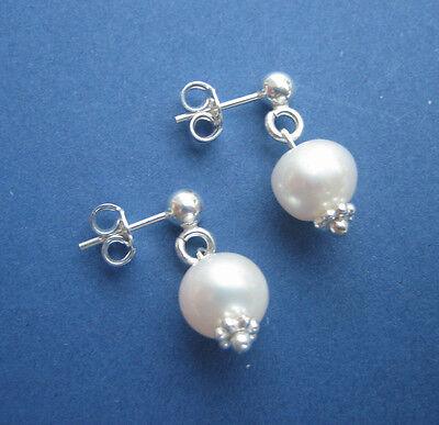 Ohrstecker Perlen weiß 8,5 mm Süßwasser Zucht rund 925 Silber Ohrringe