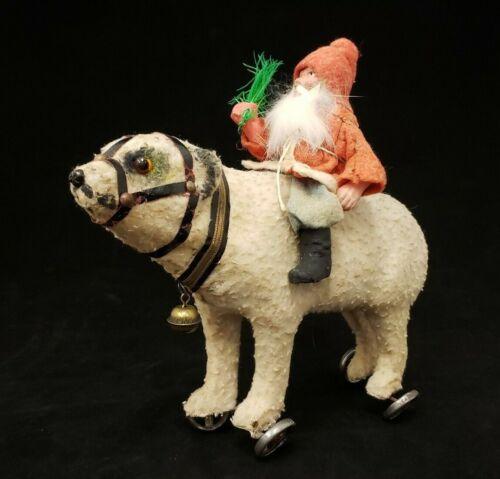 Santa on Polar Bear Pull Toy 1920