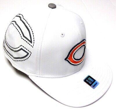 Chicago Bears NFL Reebok Sideline White Flat Visor Logo Hat Cap Flex Fit S/M