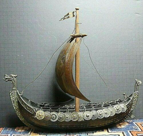 Vintage Bronze Viking Model Ship Iron Art Copenhagen Denmark By  Edward Aadaard