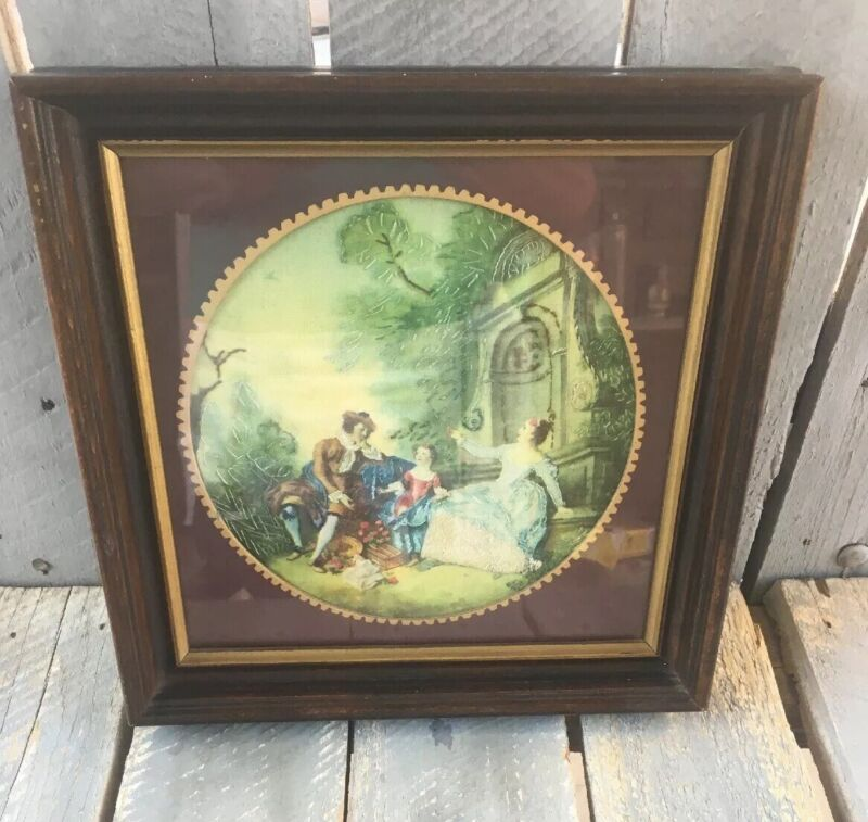 Antique Georgian Era French Silk work Embroidery Tapestry, In Frame