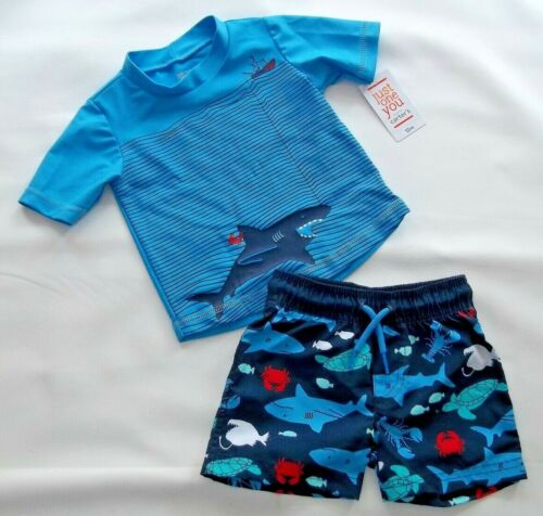 INFANT BABY BOY SWIM RASHGUARD SET SHIRT AND SHORTS SHARK  (blue) 12M