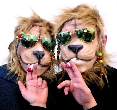 2 x Maske Löwe Joint Rasta Zöpfe Brille Reggae Tiermaske Partylöwe - Joint Kostüm