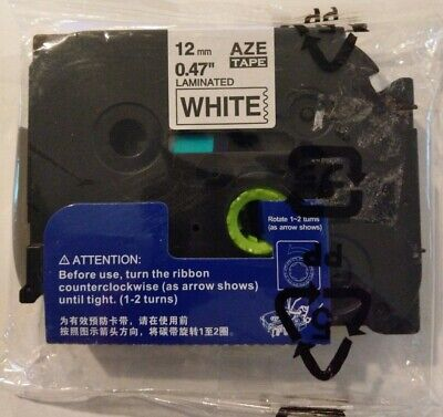 Aze White Laminated Label Maker Tape 12mm .47 Compatible W Brother P-touch