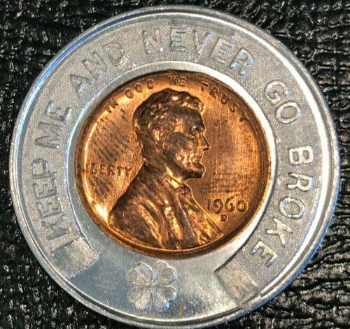 ENCASED AU/UNC 1960 D LINCOLN CENT GARLAND C. HUGHES GRAND RAPIDS MICHIGAN-OCT45