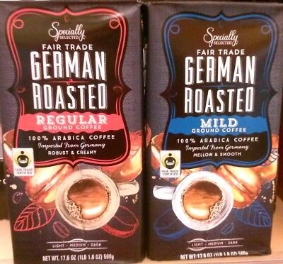 1 Bag : Specially Selected Fair Trade German Ground Coffee - 500g. Mild or Reg