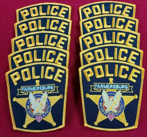 FARMERSBURG INDIANA IN Trade Stock 10 police patches POLICE PATCH
