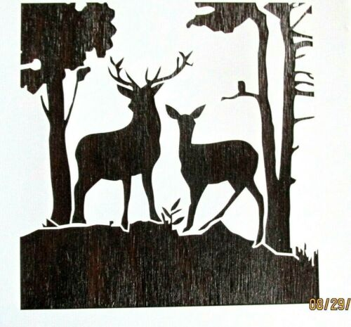 Deer & Fawn in Woods Buck & Fawn Stencil/Template Reusable 10 mil Mylar