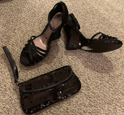Brand New Without Tags Black Sequin Wedge Shoes UK 4 With Matching Clutch Bag