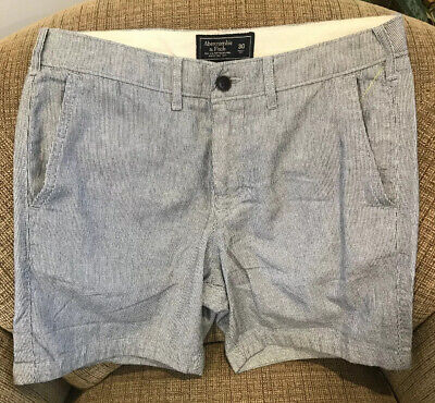 Abercrombie and Fitch Khaki Shorts sz 30  Blue Pinstrip Stretch Fit Mens for sale  Columbia