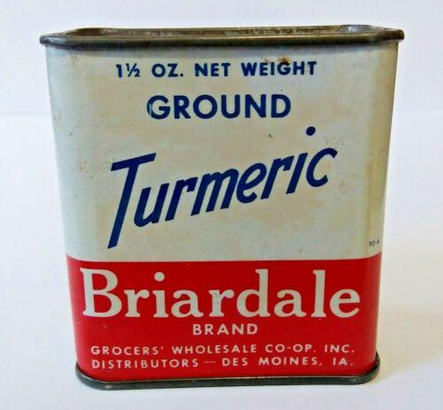 Vintage BRIARDALE TURMERIC Metal Spice Tin