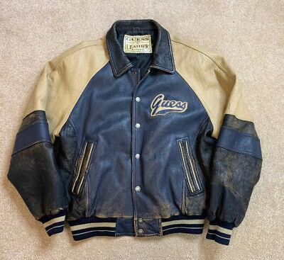 VINTAGE 1990's GUESS Leather Jacket Coat Distressed Grunge Streetwear Large L Ultimate Leather Vest