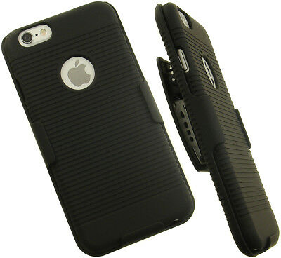 BLACK RUBBERIZED HARD CASE BELT CLIP HOLSTER STAND FOR APPLE iPHONE 6 6s (4.7