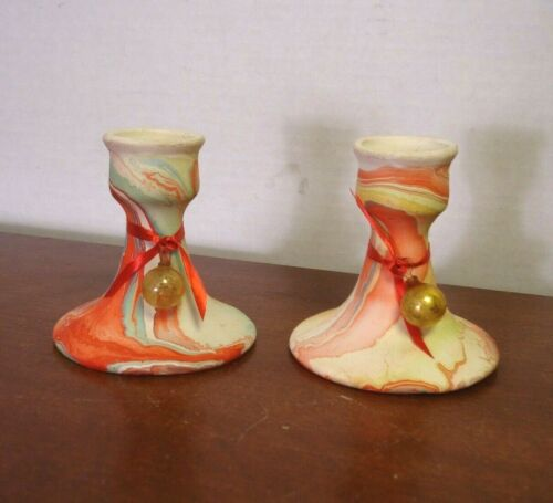 "Garden of the Gods Pottery candle stick holders Colorado Swirl Marbled Vtg 3"" T"