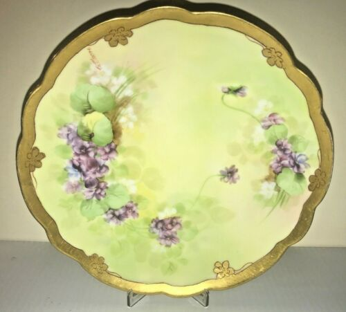 Antique Hand Painted PICKARD Plate by B. Moore Purple Violets Mark 5, C. 1905-10