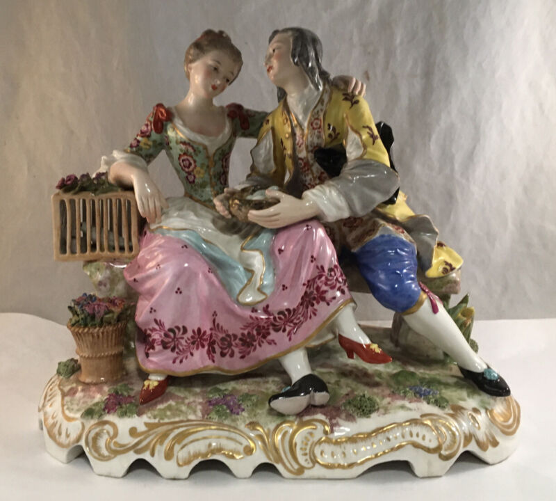 ANTIQUE LARGE GERMAN PORCELAIN FIGURE GROUP STATUE COURTING WITH BIRDCAGE EGGS
