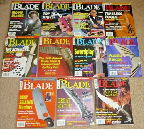 Lot of 11 BLADE Magazines, Knives Complete Year 1995 Volume 22