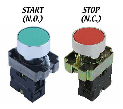 New 22mm Start Stop Buttons N.o. And N.c. Momentary Button Red Green