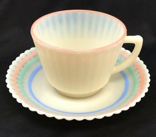 Macbeth Evans Petalware Monax Cremax Pastel Coffee Tea Teacup Cup & Saucer READ