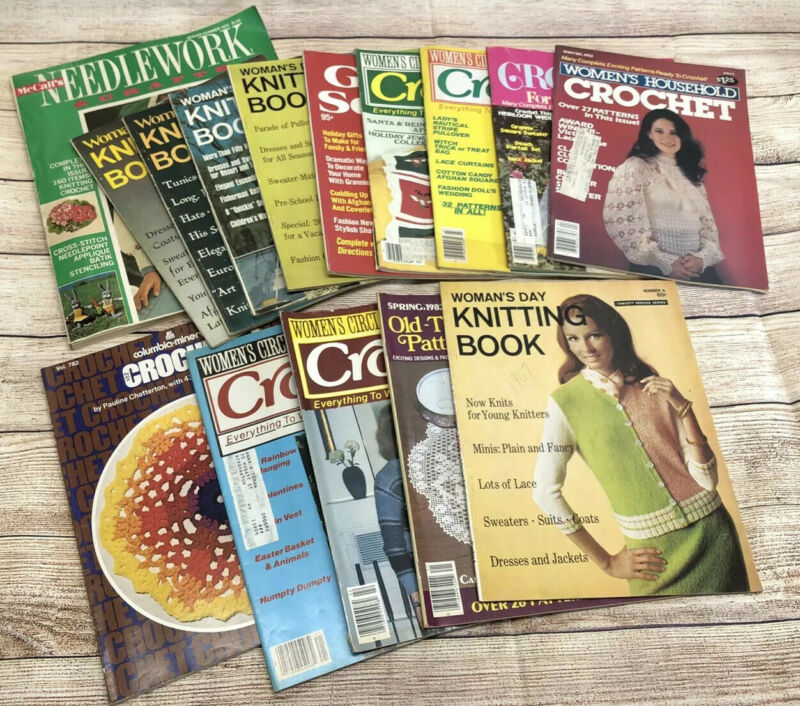 Lot of 15 Vintage Crochet Magazines 1970's-1980's