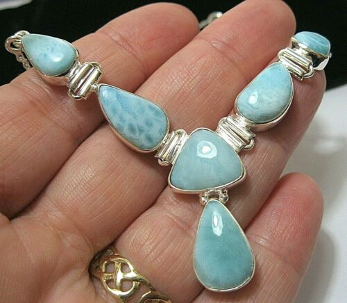 Sterling Silver Real LARIMAR Gem Stone Large Drop NECKLACE English Hallmarked