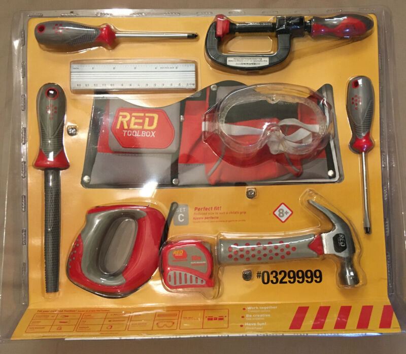 REAL Child Size Hand Tools RED TOOLBOX 10 Piece Set Ages 8+ (Prod. Date 08-2011)