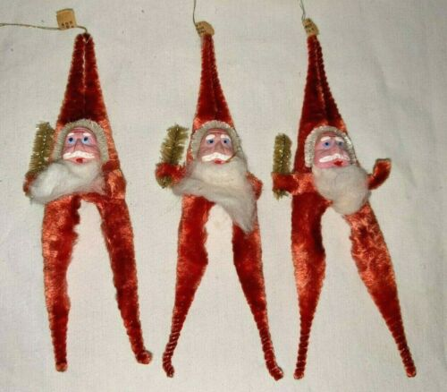 """Lot of 3 Red Chenille Santa Christmas Ornament Made in Occupied Japan Tags 5.5"""""""